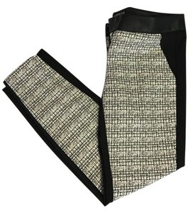 Express Faux Leather Trouser Pants Black & White Tweed