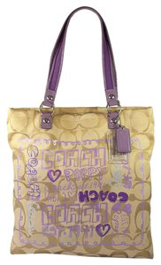 Coach Poppy Signature Jacquard Tote in Khaki & Purple