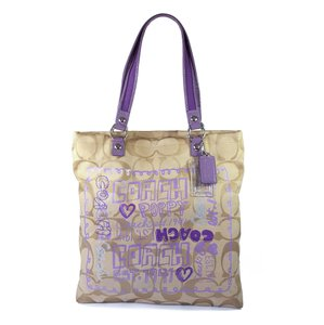 Coach Poppy Signature Jacquard Patent Leather Silver Hardware Tote in Khaki & Purple