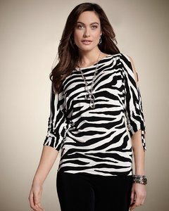 Chico's Zebra Top Black/White