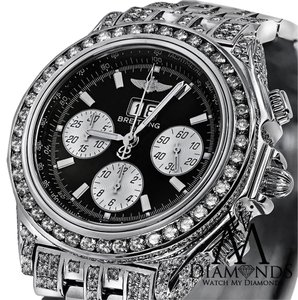 Breitling Mens Luxury Breitling Watch A44355 Black Dial 15Ct Natural Diamond