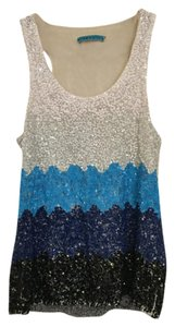 Alice + Olivia Sequin Top Ombre white/ blue