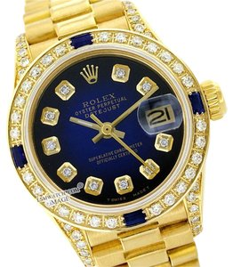 Rolex ROLEX LADY DATEJUST PRESIDENT 18K YG BLUE DIAMOND $ SAPPHIRE WATCH