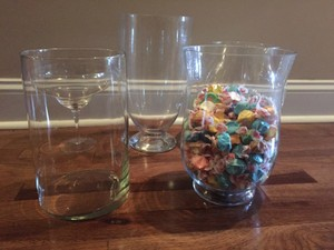 5 Clear Glass Candy Bar Jars