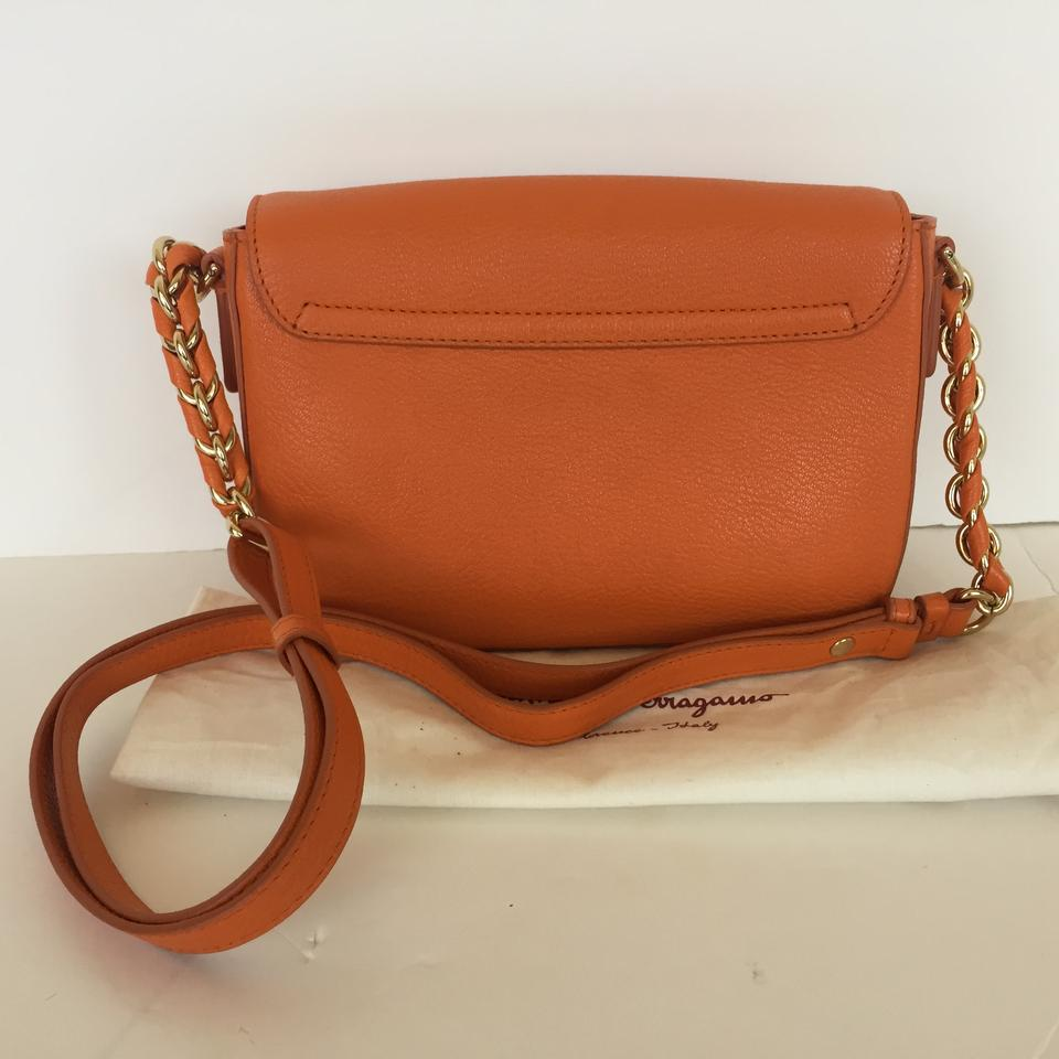 becd4b1eca15 Salvatore Ferragamo Small Sandrine Convertible Shoulder Orange Leather  Cross Body Bag