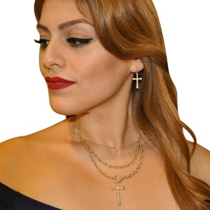 Other Matte Trendy Cross Necklace and Earrings Set