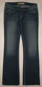 BKE Back Flap Pockets Zip Fly Cotton/poly/spandex Boot Cut Jeans-Dark Rinse