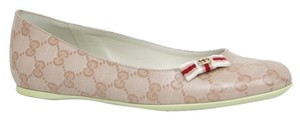Gucci Ballet W/bow Crystal Gg 317040 Pink Flats