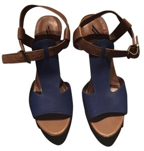 Ava & Aiden Ankle Wrap Tan & Blue Sandals