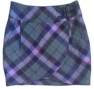 Ted Baker Mini Skirt Grey Purple Blue