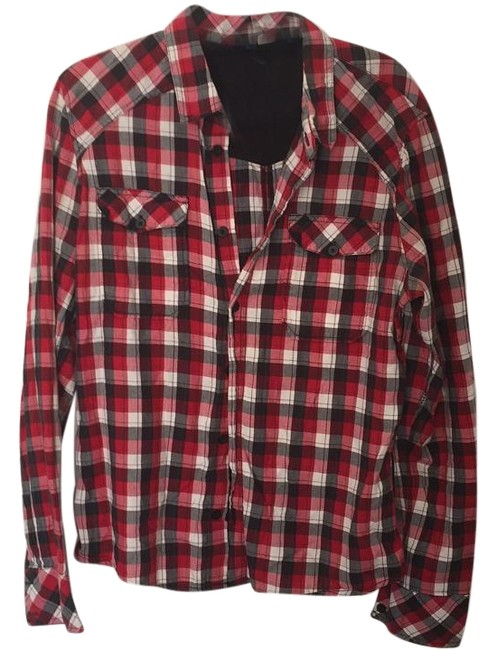H&M Button Down Shirt Red