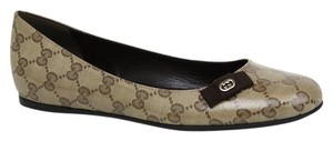 Gucci Crystal Gg Interlocking G Ballet 317040 Brown Flats