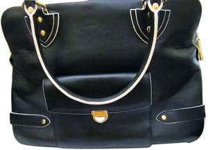 Theresa Kathryn Leather Large Compartments Gold Hardware Laptop Luggage Green Lining Tote in Navy w/ White trim