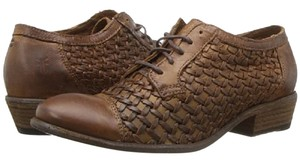 Frye Leather Woven Leather Brown Flats