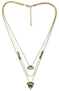 Iridescent Stone Pave Crystal Multi Chain Layer Pendant Necklace Set