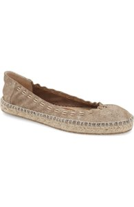 Jimmy Choo Deena Stretch Espadrille Chain Accent Metallic Flats