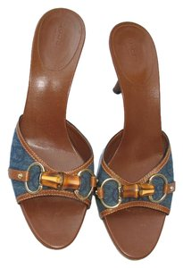 Gucci Kitten Horse Bit Denim Mules