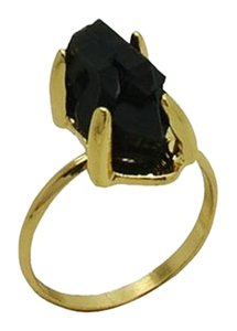 Black Stone Druzy Crystal Stone Ring