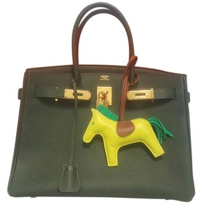 Hermès Birkin Rouge H Gold Hardware Leather Tote in Vert Anglais