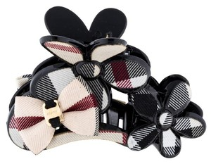 Burberry Black, Multicolor Burberry Floral Bow Nova Check Hair Clip