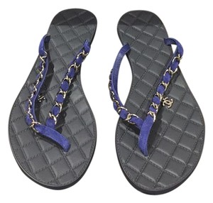 Chanel Black and Blue Sandals