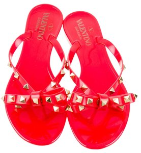 Valentino Jelly Bow Rockstud Red Sandals