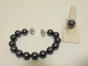 Pearlfection Pearlfection Faux Black South Sea Pearl Bracelet and Ring Set