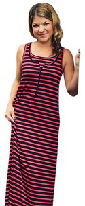 Pink stripe Maxi Dress by Molly Ades Maternity