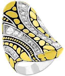Cubic Zirconia Abstract Cobblestone Ring