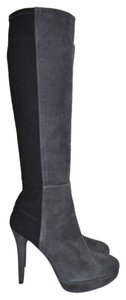 Stuart Weitzman Heel Wedge GREY BLACK SUEDED Boots