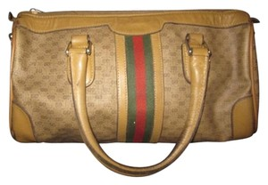 Gucci Gold Hardware Logo Print Large Size Satchel in coated canvas with small G logo/leather in browns with wide red/green stripe