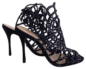 SCHUTZ Kalana Embellished Suede Black Sandals