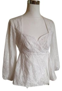 Nanette Lepore Lace Cotton Wrap 3/4 Sleeve Top Ivory