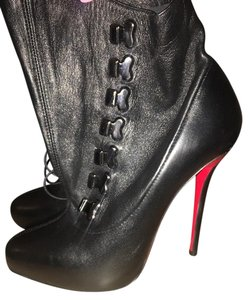 Christian Louboutin Lace Up Bootie Boot Black Boots