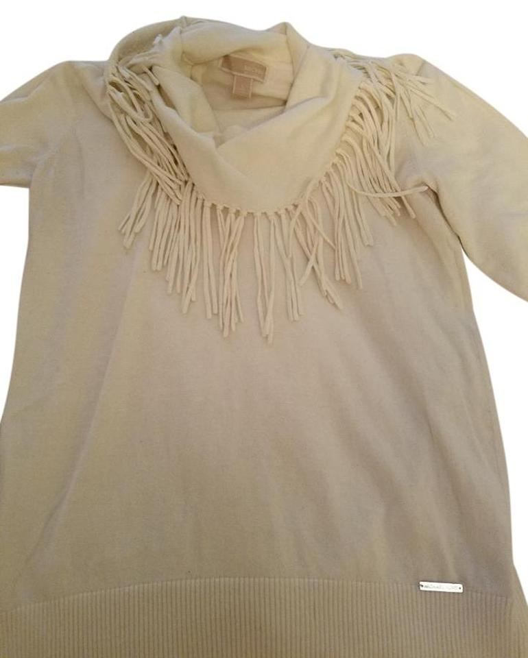 43bee671 Michael Kors Long Sleeve Fringe Winter Color Cotton White Sweater ...