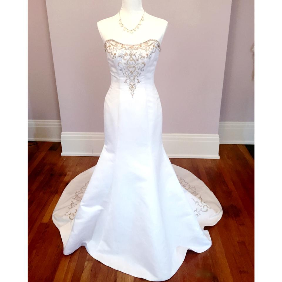 Alfred Angelo White Gold Polyester Strapless Crystal Embellished Modern Wedding Dress Size 8 M