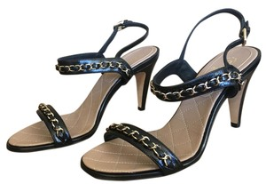 Chanel Heel Sandals Chain Classic Cc Black Pumps