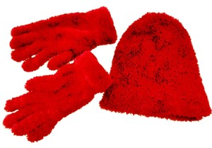 OP Plush hat and gloves set rich ruby