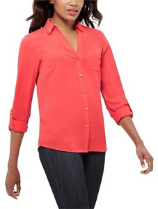 The Limited Tall Small Button Down Blouse Button Down Shirt Magenta/Fushia