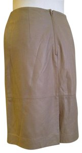 Max Mara Leather Pencil Kick Pleat Skirt Taupe