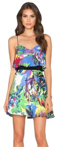 MILLY Floral Flared Spaghetti Strap Beach Dress