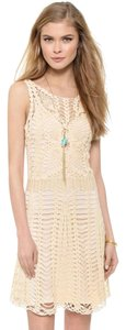 Free People short dress Beige Crochet Slip Bohemian on Tradesy