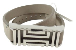 Tory Burch Tory Burch 12155921 Gray Leather Silver FitBit Holder Double Bracelet