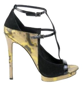 Brian Atwood Metallic Snakeskin and Black Sandals