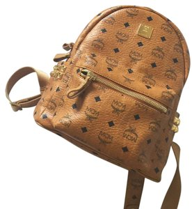 MCM Canvas Mini Small Visetos Gold Backpack