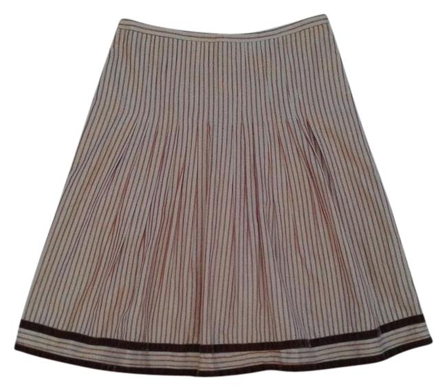 Item - Beige Gold Red Burgundy Snak Striped Velvet Lace Trim Pleated A-line Skirt Size 2 (XS, 26)