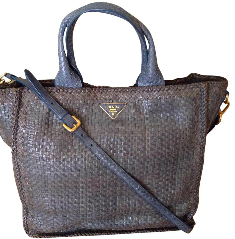 6c740fe4144a Prada Madras Woven Shopper Tote Blue Brown Goat Leather Cross Body ...