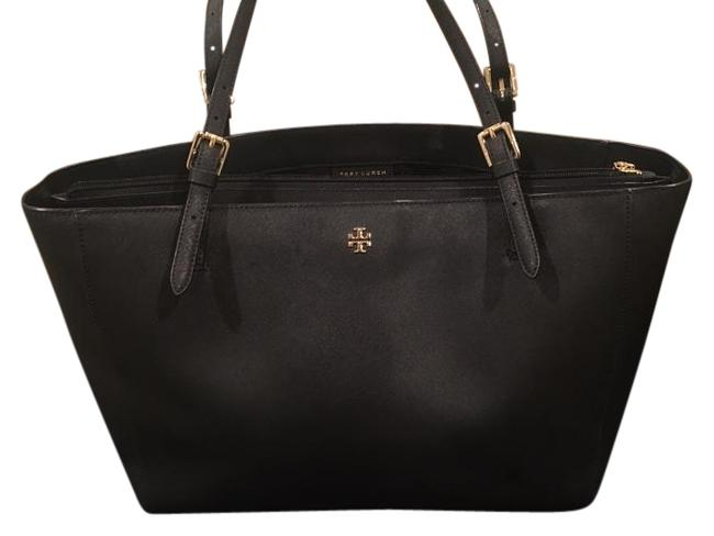 Item - York Buckle Tote Black with Gold Hardware Scratch Resistant Leather Laptop Bag