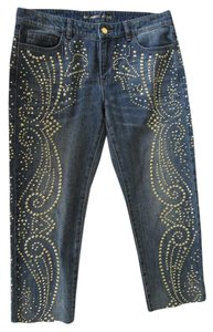 Michael Kors Denim Cropped Studs Capri/Cropped Denim-Medium Wash
