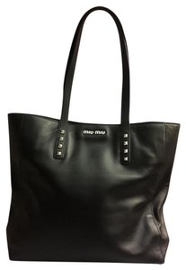 Miu Miu Leather Studded Tote in Black